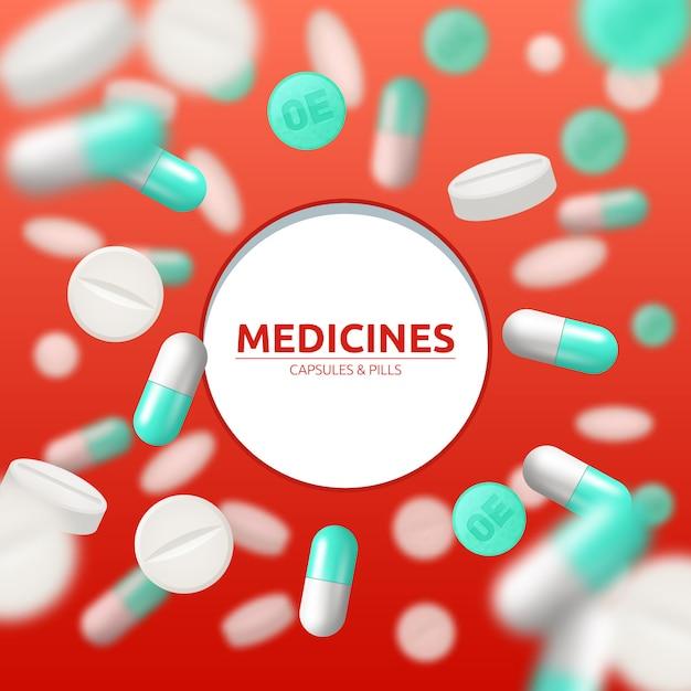 Antécédents médicaux avec des pilules et des capsules blanches et vertes Vecteur gratuit