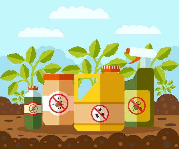 Anti bug, illustration vectorielle de bouteilles de pesticides Vecteur Premium