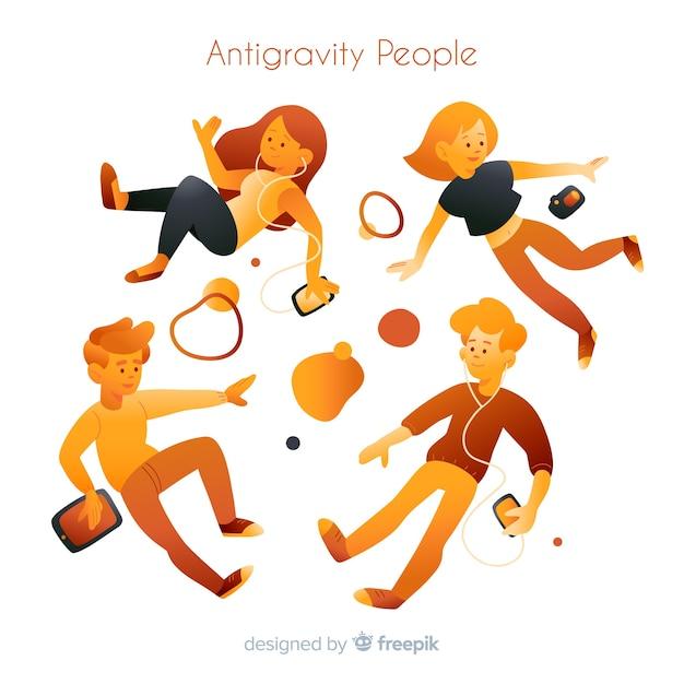 Antigravity people background Vecteur gratuit