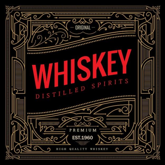 Antique Cadre Whisky étiquette Vintage Frontière Rétro Vecteur Premium
