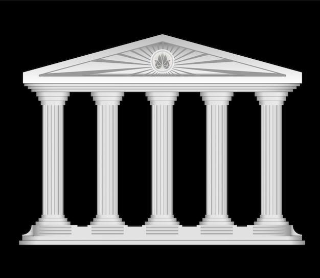Antique roman temple stylisé, vecteur, fond Vecteur gratuit