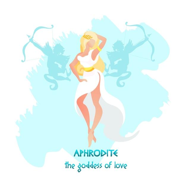 Aphrodite ou vénus déesse de l'amour et de la beauté Vecteur Premium