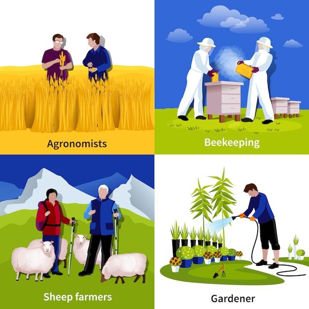 Apiculteurs jardiniers Vecteur gratuit