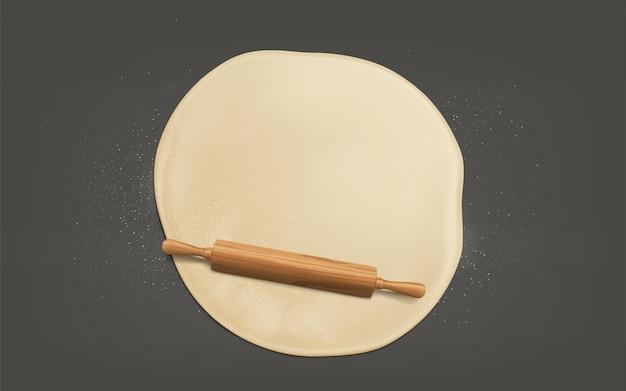Aplatir La Pâte Avec Un Vecteur Réaliste De Rouleau à Pâtisserie Vecteur gratuit