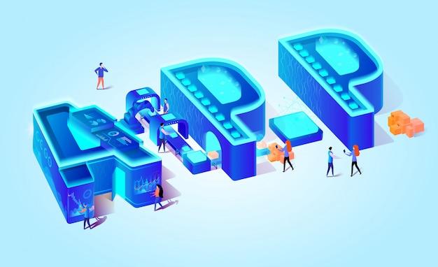 App isométrique de lettres sur fond dégradé bleu. Vecteur Premium