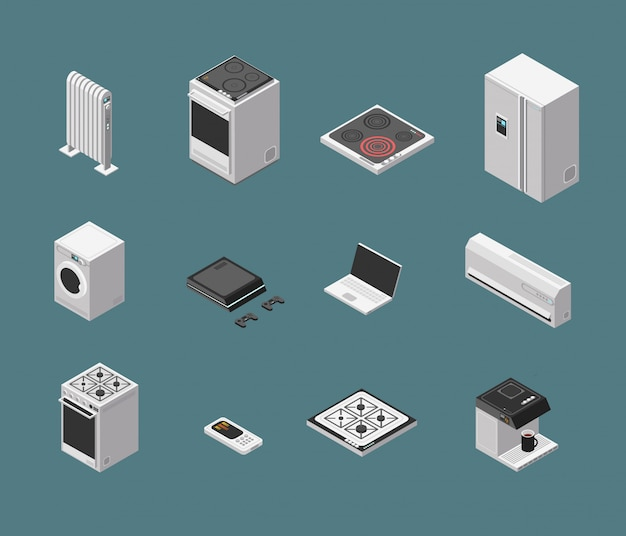 Appareil de cuisine domestique 3d isométrique et équipement électrique isolé set vector Vecteur Premium
