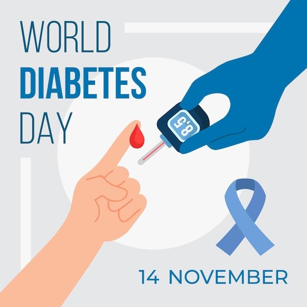 Appareil De Mesure De La Journée Mondiale Du Diabète Vecteur gratuit
