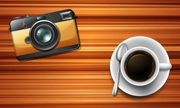 Appareil Photo Et Un Café Sur La Table Vecteur gratuit
