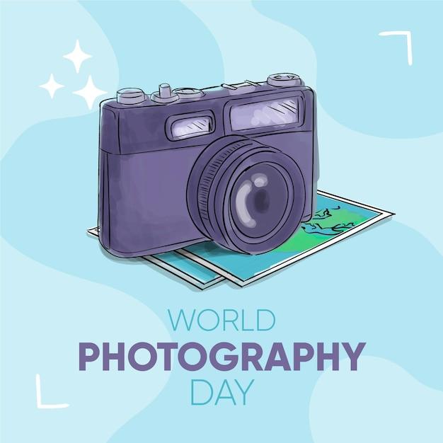 Appareil Photo Et Cartes De La Journée Mondiale De La Photographie Vecteur gratuit