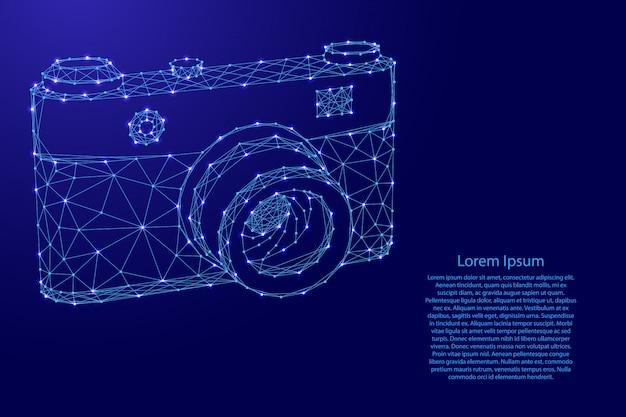 Appareil Photo De Lignes Bleues Polygonales Futuristes Et étoiles Brillantes Pour Bannière, Affiche, Carte De Voeux. Vecteur Premium