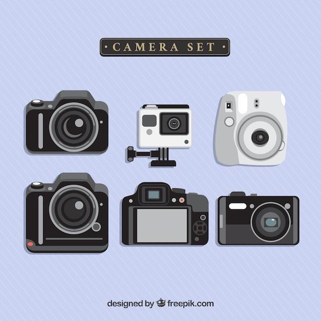Appareil photo numérique set Vecteur gratuit
