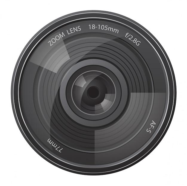 Appareil photo à objectif. Vecteur Premium
