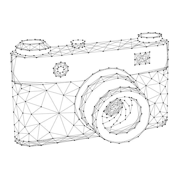Appareil Photo à Partir De Lignes Et De Points Noirs Polygonaux Futuristes Abstraits. Vecteur Premium