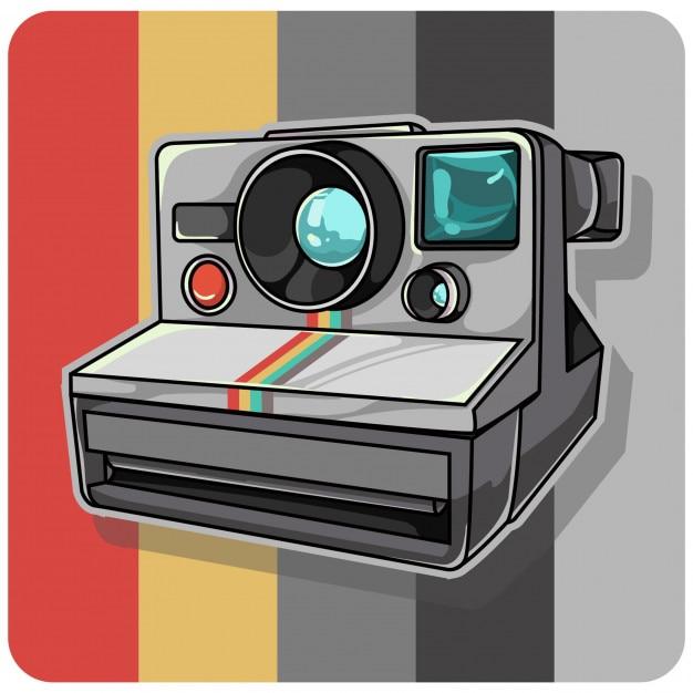 Appareil photo polaroid vintage Vecteur Premium