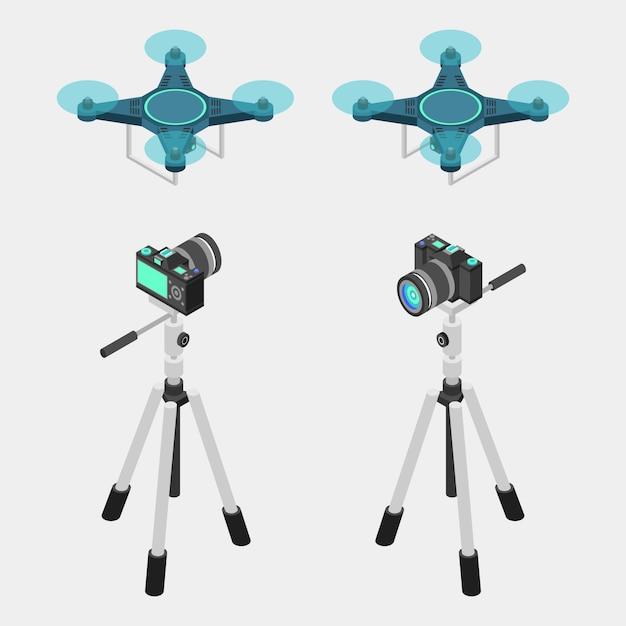 Appareil photo reflex numérique, trépied et drone Vecteur Premium