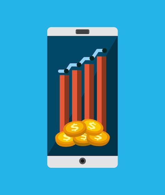 Appareil smartphone et charte graphique Vecteur Premium