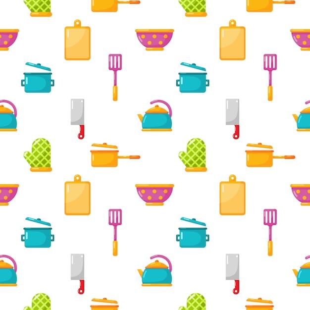Appareils De Cuisine Modèle Sans Couture Et Ensemble D'icônes D'ustensiles De Cuisine Isoler Sur Blanc Vecteur Premium