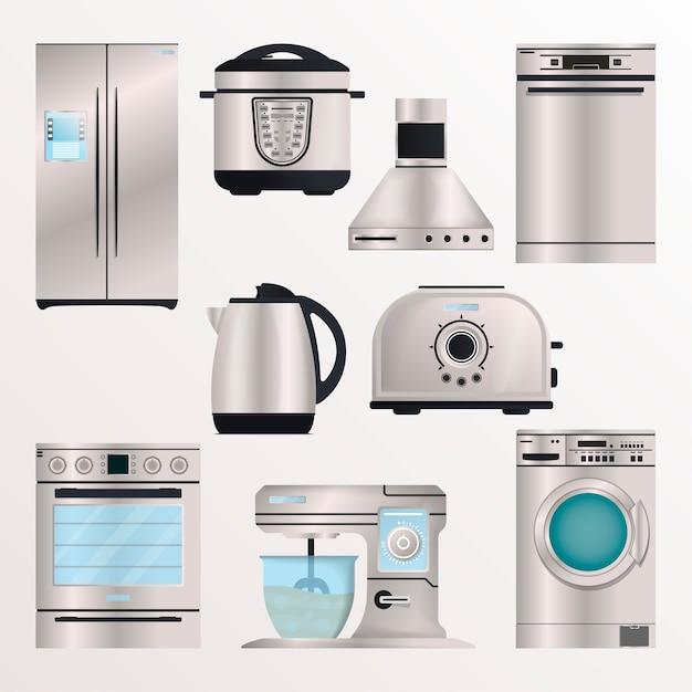 Appareils électroniques de cuisine isoler set Vecteur Premium