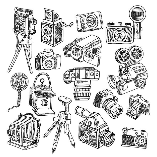Appareils photo hobby vintage de photo et de film Vecteur gratuit