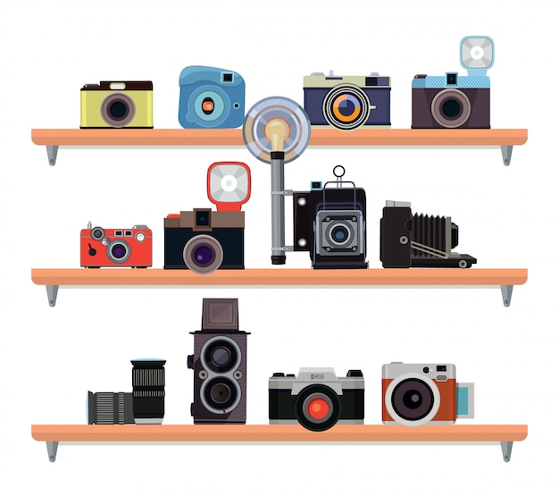 Appareils photo rétro et détails spécifiques pour les photographes Vecteur Premium