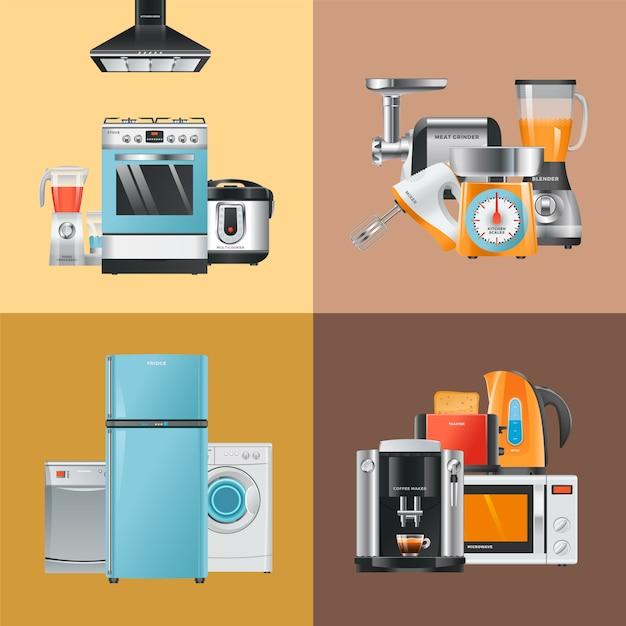 Appareils Réalistes. Accueil équipement électrique Réfrigérateur Machine à Laver Micro-ondes Mixeur Hotte Hotte Cuisinière à Gaz Vecteur Premium