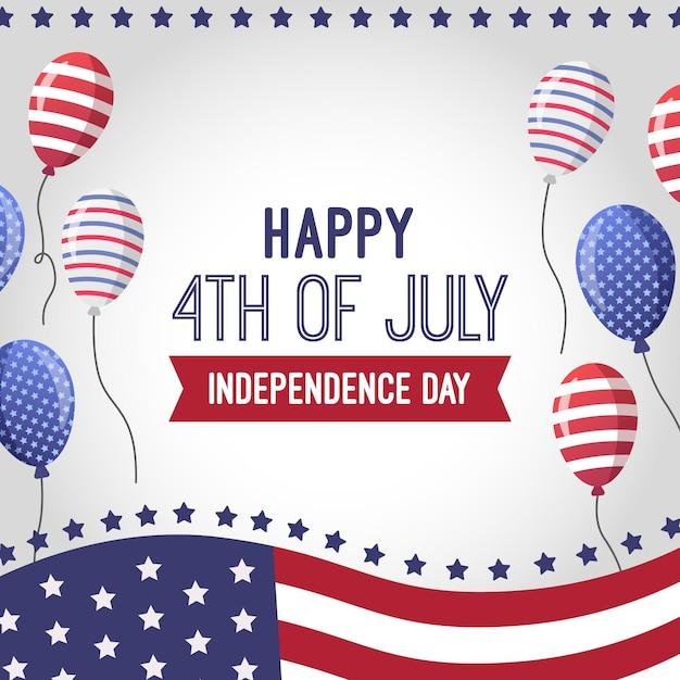 Appartement 4 Juillet - Fond De Ballons De Fête De L'indépendance Vecteur gratuit