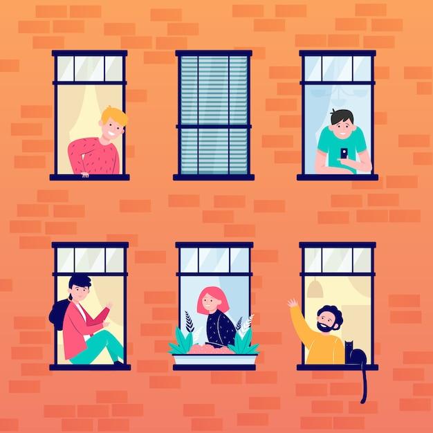 Appartement Fenêtres Ouvertes Et Voisins Vecteur gratuit