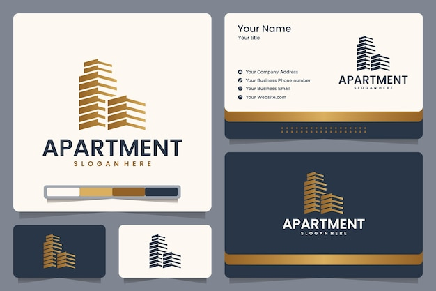 Appartement, Immobilier, Création De Logo Et Carte De Visite Vecteur Premium