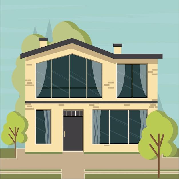 Appartement De La Maison Sur Le Fond De La Nature Vecteur Premium