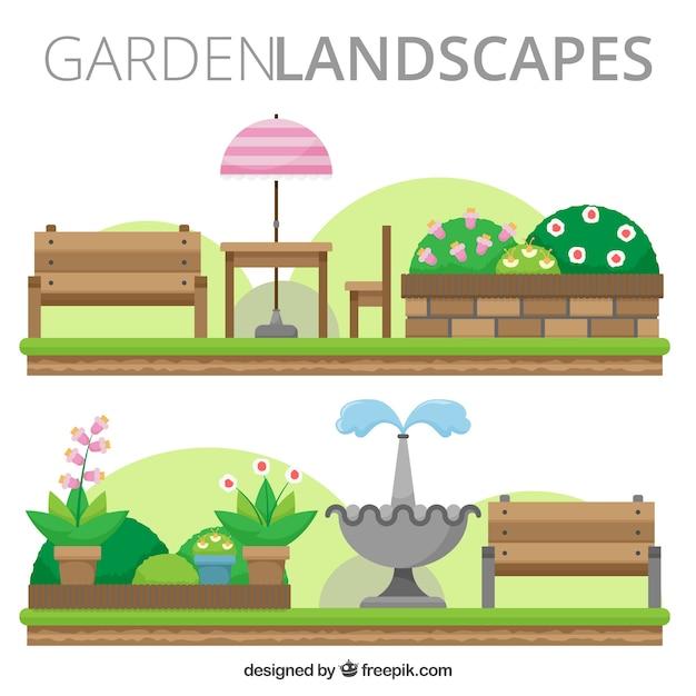 Appartement paysages de jardin avec des bancs Vecteur gratuit
