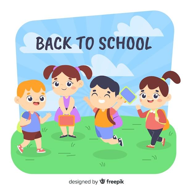 Appartement de retour aux écoliers Vecteur gratuit