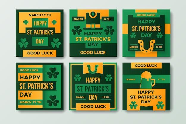 Appartement St. Patrick's Day Instagram Posts Vecteur gratuit