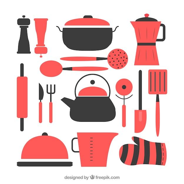 Appartement ustensiles de cuisine set Vecteur gratuit