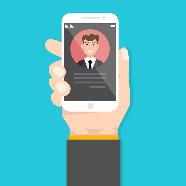 Appel entrant dans le smartphone Vecteur Premium