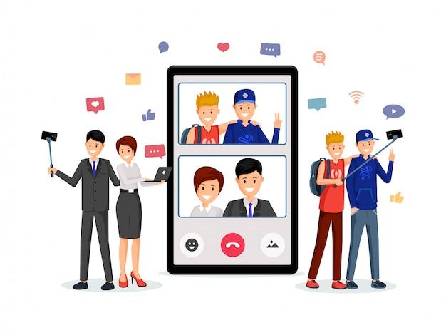 Appel vidéo, conversation en famille Vecteur Premium