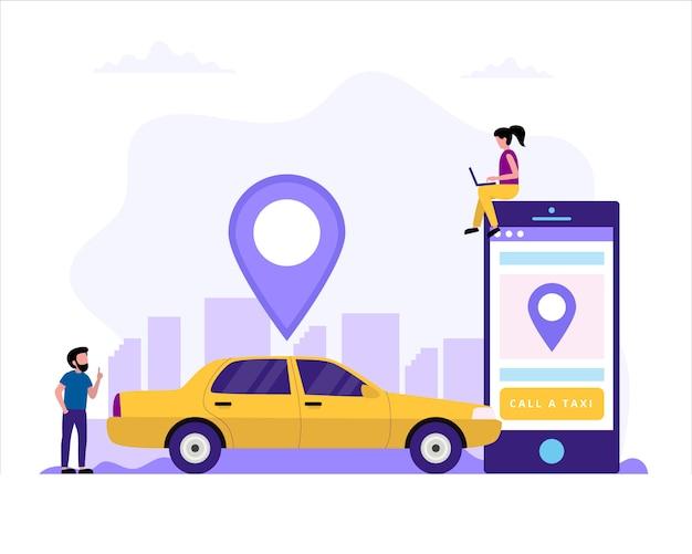 Appeler un taxi сoncept illustration avec une voiture de taxi Vecteur Premium