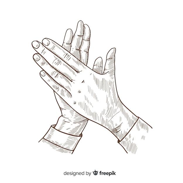 Applaudissements dessinés à la main vintage sans couleur Vecteur gratuit