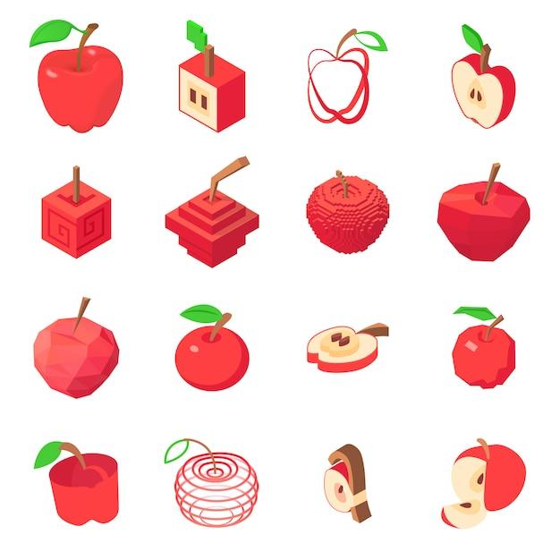 Apple logo icônes définies. illustration isométrique de 16 icônes vectorielles logo pomme pour le web Vecteur Premium