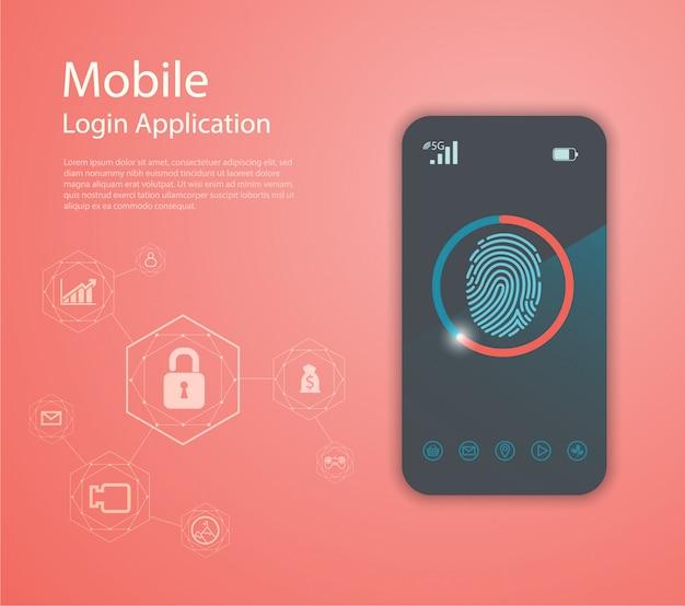 Application de connexion avec la fenêtre de formulaire d'empreinte digitale. Vecteur Premium