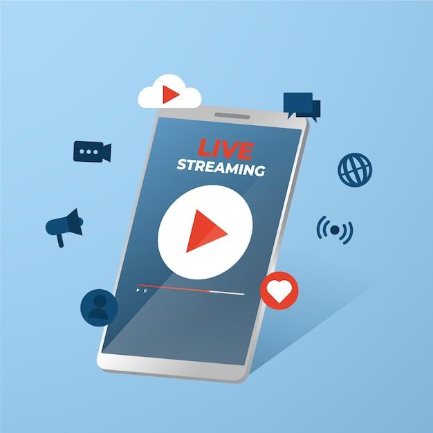 Application De Diffusion En Direct Sur Les Téléphones Mobiles Vecteur gratuit