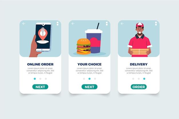 Application D'écrans De Livraison De Nourriture à Bord Vecteur gratuit