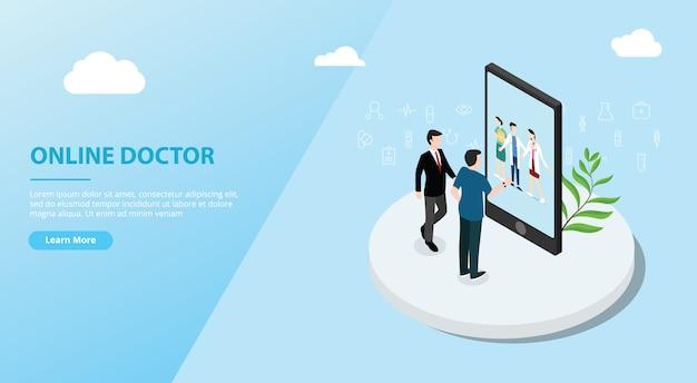 Application en ligne de médecin pour le modèle de site web Vecteur Premium