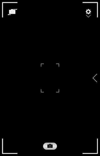 Application De Médias Sociaux D'interface D'écran De Caméra De Smartphone. Caméra De Conception De Cadre Photo D'interface Utilisateur. Flash, Hdr, Live, Qualité, Temps, Icônes De Stabilisation Ui. Maquette Illustration Vecteur Premium