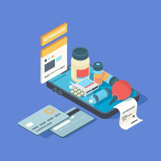 Application Médicale. écran De Smartphone Avec Commande En Ligne Pilules Médicales Médicaments Connexion Clinique Médicale Concept Isométrique En Ligne. Vecteur Premium