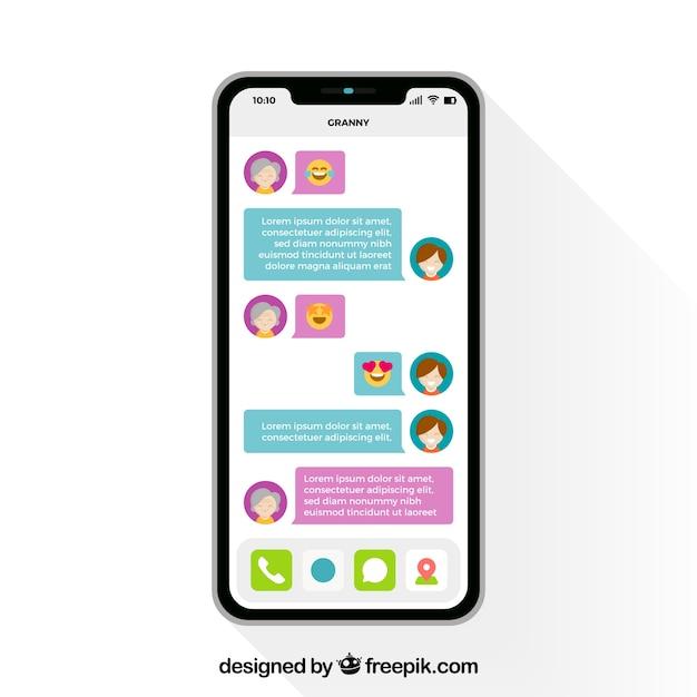 Application messenger pour discuter sur le mobile Vecteur gratuit