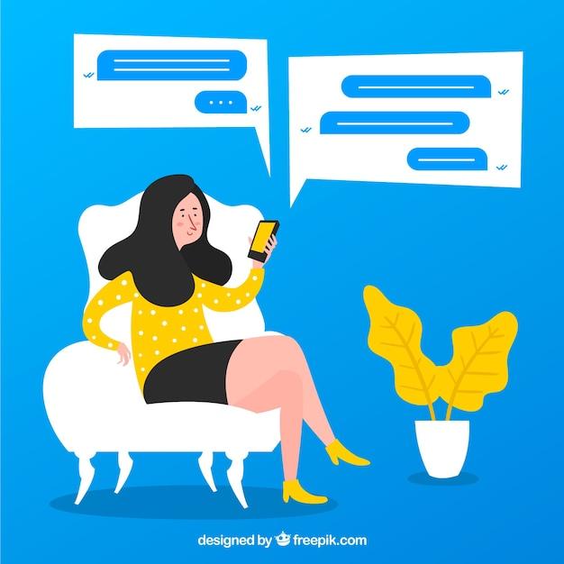 Application messenger pour mobile dans un style plat Vecteur gratuit