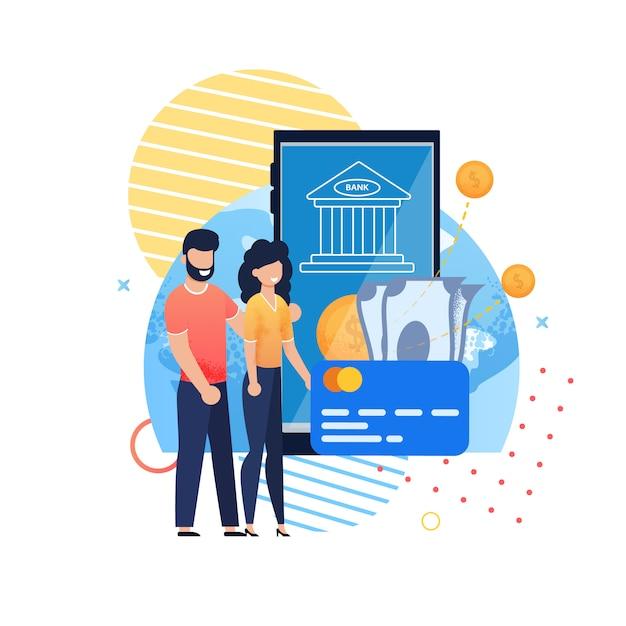Application mobile bancaire en ligne pour l'épargne familiale Vecteur Premium