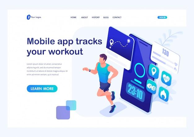 Application mobile concept isométrique suit votre entraînement, athlète masculin sur une course. formation d'un jeune homme. modèle de page de renvoi pour site web Vecteur Premium