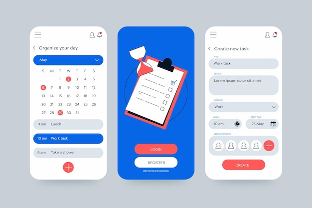 Application Mobile De Gestion Des Tâches De Calendrier Et De Planificateur Vecteur gratuit
