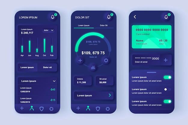 Application Mobile D'interface Utilisateur De Conception Neumorphique Moderne De Services Financiers Vecteur Premium